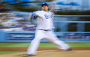LOS ANGELES, USA, JUL 27: Los Angeles Dodgers starting pitcher Hyun-Jin Ryu throws to the plate in the first inning during a Major League Baseball game against the Cincinnati Reds at Dodgers Stadium in Los Angeles, USA, on July 27, 2013. (EDITORIAL USE ONLY)<br /> Photographer: Penta Press/Bret Hartman
