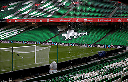 A general view of the pitch as heavy rain comes down prior to the Nations League match at Benito Villamarin Stadium, Seville.