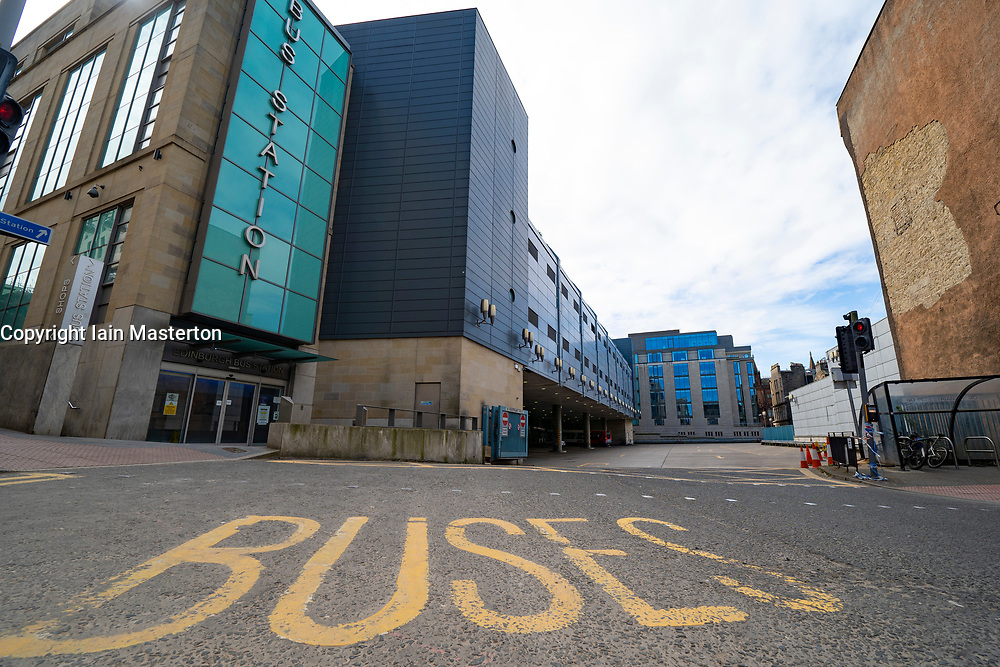 Edinburgh, Scotland, UK. 8 April 2020. Images from Edinburgh during the continuing Coronavirus lockdown. Pictured; Bus Station with no buses whilst running reduced services. Iain Masterton/Alamy Live News.