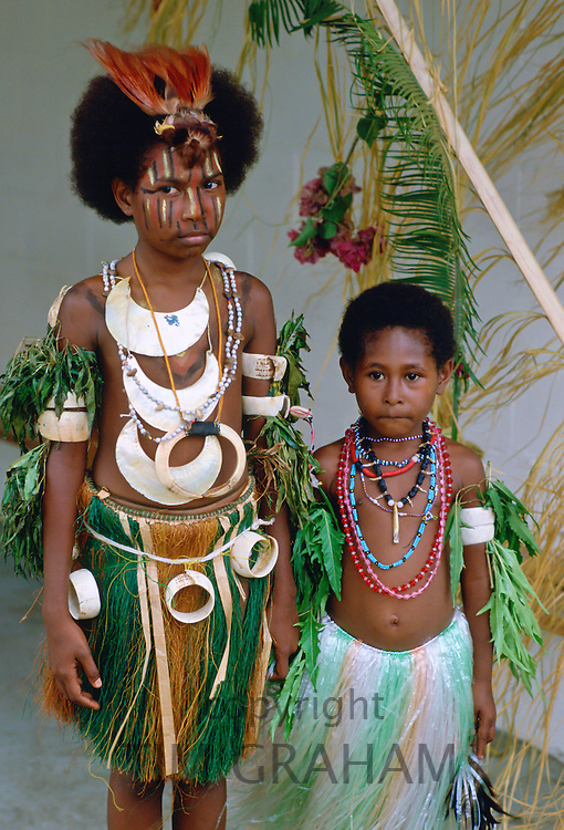Children in traditional dress, Papua New Guinea