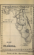 MAP of Florida USA (SCENE OF THE OPERATIONS) from the book ' The Baltimore gun club ' AKA ' From the earth to the moon ' by Jules Verne, (1828-1905); Translated by Edward Roth Published in Philadelphia by King & Baird, publishers in 1874