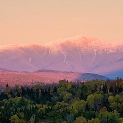 Dusk and Mount Washington in new Hampshire's White Mountains.  Bethlehem, New Hampshire.