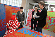 Japanese artist Yayoi Kusama being interviewed in her studio, by Richard Lloyd Parry, journalist for The Times, in Tokyo, Japan, on Wednesday 25th January 2012.