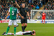 Mark Milligan of Hibernian FC leaves one on Ryan Edwards of St Mirren and is ordered away by the referee during the Ladbrokes Scottish Premiership match between St Mirren and Hibernian at the Simple Digital Arena, Paisley, Scotland on 29th September 2018.