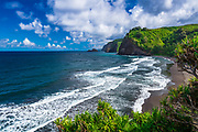 Pololu Valley and beach (family visible in surf), North Kohala, The Big Island, Hawaii USA