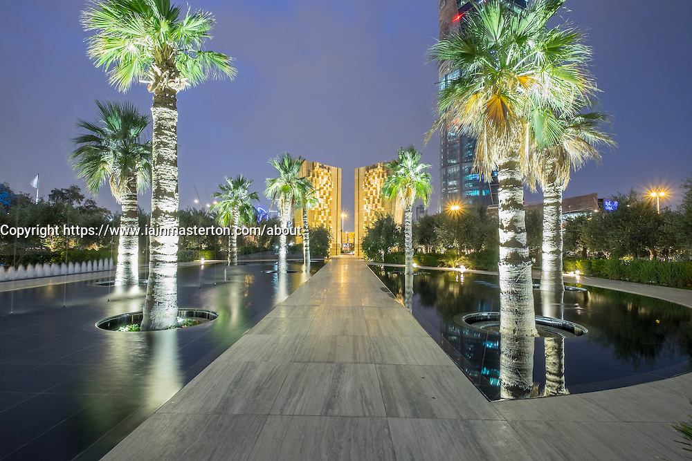 Night view of Constitution Monument inside new Al Shaheed Park in Kuwait City Kuwait.