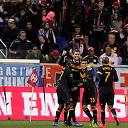 Will Bruin, Orlando, celebrates with team mates after scoring during the New York Red Bulls Vs Houston Dynamo, Major League Soccer regular season match at Red Bull Arena, Harrison, New Jersey. USA. 19th March 2016. Photo Tim Clayton