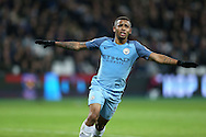Gabriel Jesus of Manchester City celebrates after scoring his sides 3rd goal. Premier league match, West Ham Utd v Manchester city at the London Stadium, Queen Elizabeth Olympic Park in London on Wednesday 1st February 2017.<br /> pic by John Patrick Fletcher, Andrew Orchard sports photography.