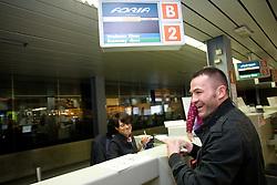 Slovenian Boxer Dejan Zavec alias Jan Zaveck alias Mr. Simpatikus at departure to Johannesburg (JAR) where he will fight versus Isaac Hlatshwayo at Welterweight World Champion Title match of IBF, on December 6, 2009, in Airport Jozeta Pucnika, Brnik, Slovenia. (Photo by Vid Ponikvar / Sportida)