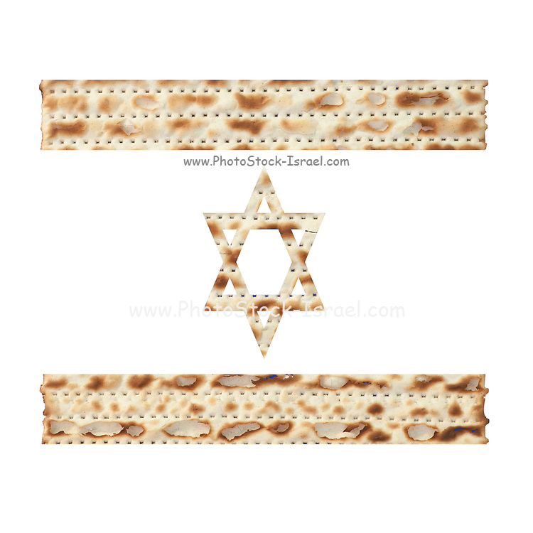 Matza -cut out in the shape of the Israeli flag
