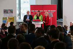 © Licensed to London News Pictures. 10/05/2017. Leeds, UK. Labour Leader Jeremy Corbyn meets staff and pupils with shadow education secretary Angela Rayner at Leeds City College in West Yorkshire. Yesterday Labour officially launched their general election campaign and unveiled their 'battle bus' in Manchester. Photo credit : Ian Hinchliffe/LNP