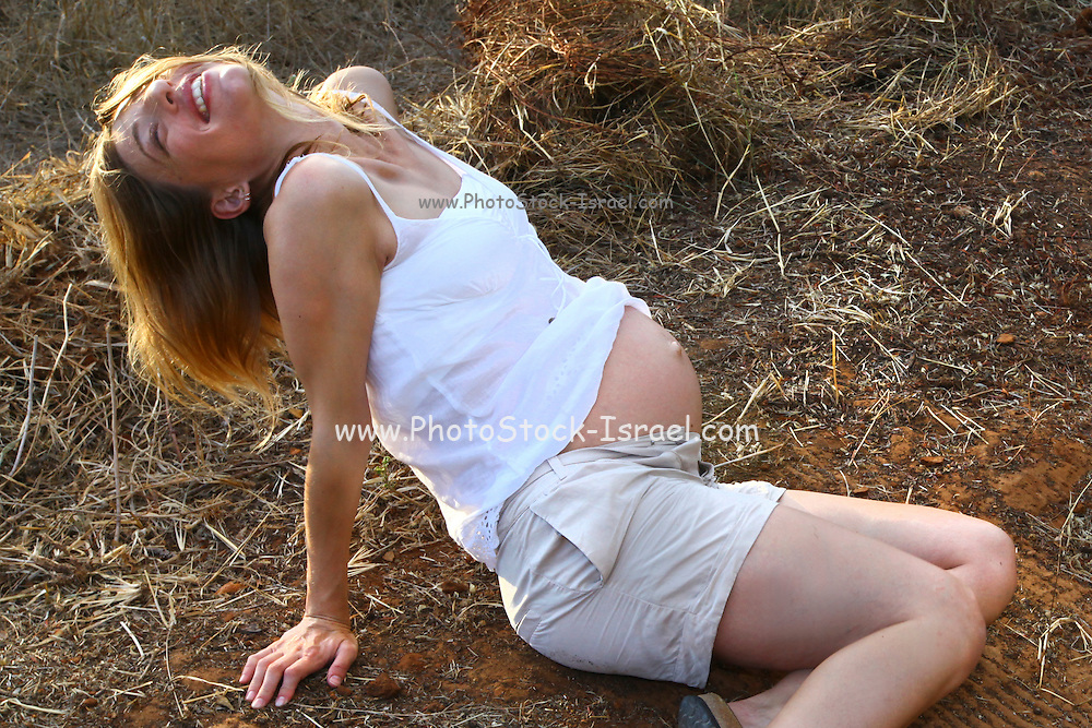 pregnant woman (nine months) in nature Model Release Available
