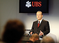 Oswald J. Gruebel, CEO of Swiss Bank UBS, speaks during a press conference on the fourth quarter and full-year results 2009 in Zurich,  Switzerland, Tuesday, Feburary 9, 2010. (Photo by Patrick B. Kraemer / MAGICPBK)
