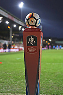 The FA Cup game ball during the The FA Cup 4th round match between Newport County and Tottenham Hotspur at Rodney Parade, Newport, Wales on 27 January 2018. Photo by Gary Learmonth.