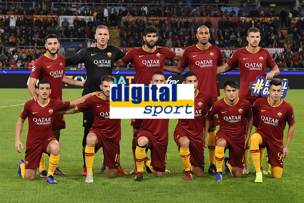 AS Roma team line up prior to the Uefa Champions League 2018/2019 Group G football match between AS Roma and CSKA Moscow at Olimpico stadium Allianz Stadium, Rome, October, 23, 2018 <br />  Foto Andrea Staccioli / Insidefoto