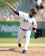 CHICAGO - AUGUST 02:  Juan Minaya #37 of the Chicago White Sox pitches against the Toronto Blue Jays on August 2, 2017 at Guaranteed Rate Field in Chicago, Illinois.    (Photo by Ron Vesely) Subject:   Juan Minaya
