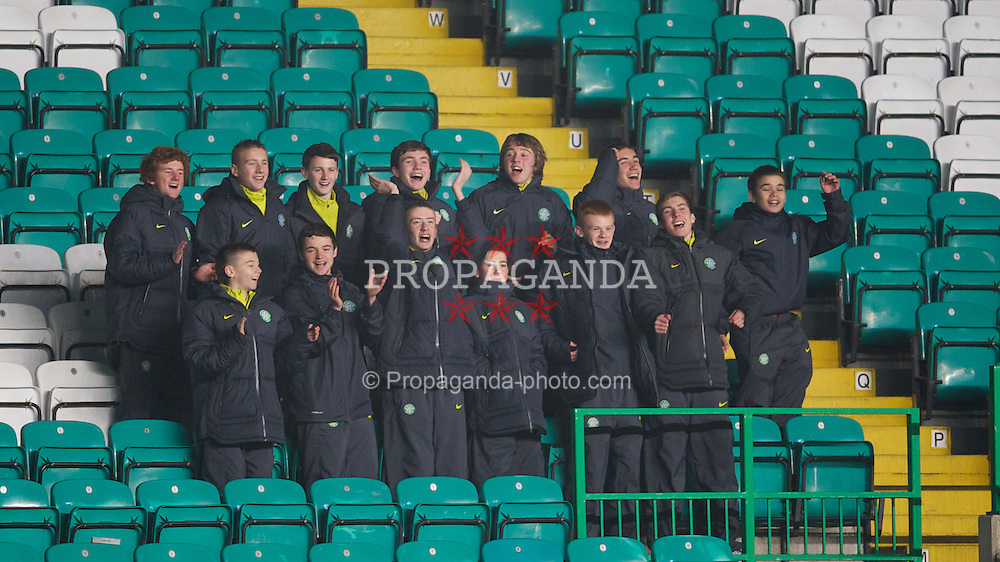 GLASGOW, SCOTLAND - Monday, November 7, 2011: Glasgow Celtic's ball-boys cheer their side on against Manchester City during the NextGen Series Group 1 match at Celtic Park. (Pic by David Rawcliffe/Propaganda)