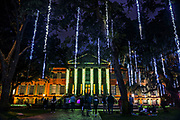 A colorful Christmas light show called the Cougar Night Lights on display in the Cistern Yard at the College of Charleston in Charleston, South Carolina.
