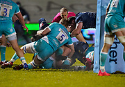 Sale Sharks flanker Jono Ross (hidden) drives over for a late try during the Gallagher Premiership match Sale Sharks -V- Worcester Warriors at The AJ Bell Stadium, Greater Manchester,England United Kingdom, Friday, January 08, 2021. (Steve Flynn/Image of Sport)
