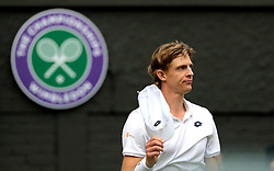South African eighth seed Kevin Anderson celebrates having reached his first Wimbledon final, beating American ninth seed John Isner 7-6 (8/6) 6-7 (5/7) 6-7 (9/11) 6-4 26-24 in the longest semi-final in the tournament's history on day eleven of the Wimbledon Championships at the All England Lawn Tennis and Croquet Club, Wimbledon.