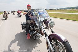 Bean're on Aidan's Ride to raise money for the Aiden Jack Seeger nonprofit foundation to help raise awareness and find a cure for ALD (Adrenoleukodystrophy) during the annual Sturgis Black Hills Motorcycle Rally. I-90 between Rapid City and Sturgis, SD, USA. Tuesday August 8, 2017. Photography ©2017 Michael Lichter.