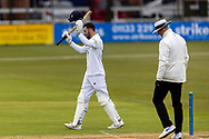200 - James Vince  raises his bat as he passes 200 during Day 2 of the LV= Insurance County Championship match between Leicestershire County Cricket Club and Hampshire County Cricket Club at the Uptonsteel County Ground, Leicester, United Kingdom on 9 April 2021.