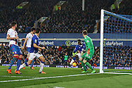 Romelu Lukaku of Everton gets the ball at the back post and scores his teams 1st goal to make it 1-1.. Barclays Premier league match, Everton v Crystal Palace at Goodison Park in Liverpool, Merseyside on Monday 7th December 2015.<br /> pic by Chris Stading, Andrew Orchard sports photography.