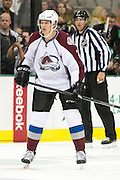 DALLAS, TX - SEPTEMBER 26:  Nick Holden #2 of the Colorado Avalanche looks on against the Dallas Stars in an NHL preseason game on September 26, 2013 at the American Airlines Center in Dallas, Texas.  (Photo by Cooper Neill/Getty Images) *** Local Caption *** Nick Holden