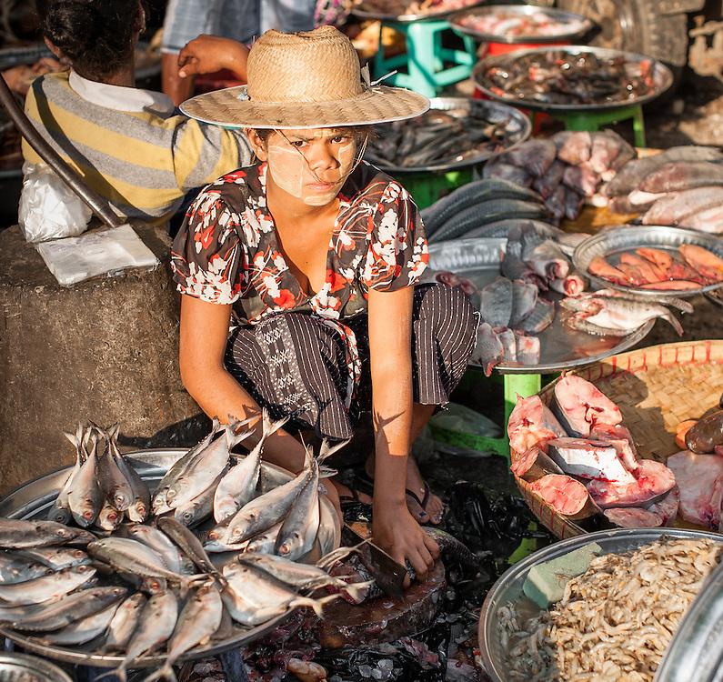 Fish seller at street market in Yangon (Myanmar)