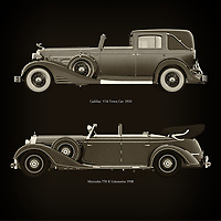 For the lover of old classic cars, this combination of a Cadillac V16 Town Car 1933 and Mercedes 770-K Limousine 1938 is truly a beautiful work to have in your home.<br />