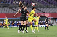 CHOFU, JAPAN - JULY 21: Sam Kerr of Australia is seen in action in the Women's First Round Group G match between New Zealand and Australia during the Tokyo 2020 Olympic Games at Tokyo Stadium on July 21, 2021 in Chofu, Tokyo, Japan.<br /> <br /> Credit: COLORSPORT/Ian MacNicol