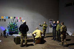 December 31, 2017 - Donetsk Region, Ukraine - Soldiers celebrate New Year on the positions of the Donbas-Ukraina task force battalion, Donetsk Region, eastern Ukraine, December 31, 2017. Ukrinform. (Credit Image: © Markiian Lyseiko/Ukrinform via ZUMA Wire)