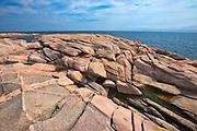 Rocky shoreline along the Cabot Strait (Atlantic Ocean) at Green Cove. Cabot Trail. Cape Breton Island.<br />Cape Breton Highlands National Park<br />Nova Scotia<br />Canada