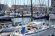 The marina  of Scheveningen with sailing boats and yaughts, The Hague, Netherlands