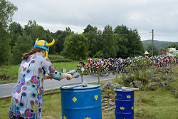 Peloton pass by a local drumming up support at the Crescent Vargarda - a 152 km road race, starting and finishing in Vargarda on August 13, 2017, in Vastra Gotaland, Sweden. (Photo by Sean Robinson/Velofocus.com)