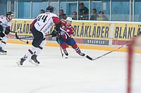 Ishockey<br /> 17. April 2015<br /> Landskamp<br /> Bergenshallen<br /> Norge - Latvia 2 - 1<br /> Oskars Cibulskis (M) , Latvia<br /> Mathis Olimb (R) , Norge<br /> Foto: Astrid M. Nordhaug
