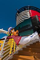Goofy aboard the Disney Dream cruise ship sailing between Florida and the Bahamas.