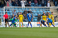 Gillingham FC forward Brandon Hanlan (7) (on ground) scores a goal (1-0) and celebrates during the EFL Sky Bet League 1 match between Gillingham and Oxford United at the MEMS Priestfield Stadium, Gillingham, England on 9 March 2019.
