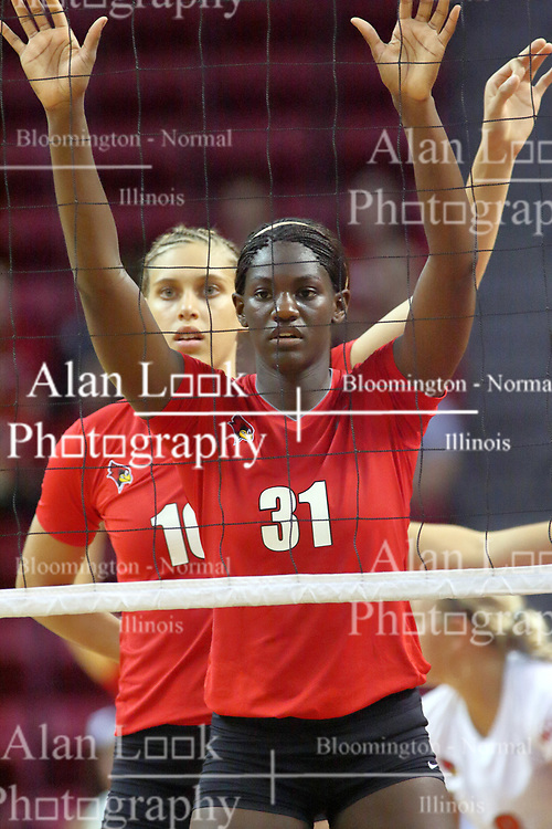 28 AUG 2009: Hailey Kelley and Angela Rego (back) ready for action. The Redbirds of Illinois State defeated the Runnin' Bulldogs of Gardner-Webb in 3 sets during play in the Redbird Classic on Doug Collins Court inside Redbird Arena in Normal Illinois