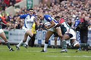 Leicester, England UK., 9th October 2004,  Zurich Premiership Rugby, Leicester Tigers vs Bath Rugby, Welford Road,<br /> [Mandatory Credit: Peter Spurrier/Intersport Images],<br /> Bath's Brendan Daniel [left] and Sure Rabeni.