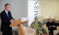 Leader of the Conservative Party David Cameron gives a speech at Demos with Frank Field Labour MP for Birkenhead and Camila Batmanghelidjh, Founder and Director of Kids Company, London, Monday January 11, 2010. Photo By Andrew Parsons / i-Images.
