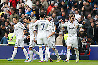 27.01.2013 SPAIN -  La Liga 12/13 Matchday 21th  match played between Real Madrid CF vs Getafe C.F. (4-0) at Santiago Bernabeu stadium. The picture show  Sergio Ramos (Spanish defender of Real Madrid) and  Cristiano Ronaldo (Portuguese forward of Real Madrid)
