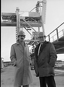 Tanaiste,Dick Spring,Visits Moneypoint..1984..23.11.1984..11.23.1984..23rd November 1984..The Tanaiste and Minister for Energy,Mr Dick Spring,visited Moneypoint Generating Station,Co Clare. He visited the site to view the progress of work there...Pictured with a backdrop of a huge crane  Tanaiste, Mr Dick Spring TD,.andMr P.J.Moriarty, Chief Executive Officer,ESB.