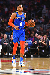 March 8, 2019 - Los Angeles, CA, U.S. - LOS ANGELES, CA - MARCH 08: Oklahoma City Thunder Guard Russell Westbrook (0) brings the ball up the court during a NBA game between the Oklahoma City Thunder and the Los Angeles Clippers on March 8, 2019 at STAPLES Center in Los Angeles, CA. (Photo by Brian Rothmuller/Icon Sportswire) (Credit Image: © Brian Rothmuller/Icon SMI via ZUMA Press)