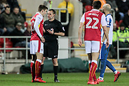 G. Eltringham (referee) warns Ben Purrington (Rotherham United) after the Rotherham United player gives away a free kick during the EFL Sky Bet Championship match between Rotherham United and Brighton and Hove Albion at the AESSEAL New York Stadium, Rotherham, England on 7 March 2017. Photo by Mark P Doherty.