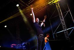 July 23, 2017 - Grazzano Visconti, Piacenza, Italy - The Italian pop singer Francesco Gabbani pictured on stage as he performs at Parco del Castello di Grazzano Visconti Piacenza. (Credit Image: © Roberto Finizio/Pacific Press via ZUMA Wire)