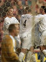 Photo. Jed Wee, Digitalsport<br /> Middlesbrough v Bolton Wanderers, Barclays Premiership, 07/11/2004.<br /> Bolton celebrate Henrik Pedersen's goal, as Boro goalkeeper Mark Schwarzer sits disconsolate in his goal.