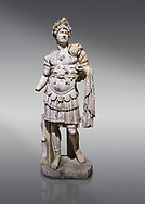 Roman statue of Emperor Hadrian. Marble. Perge. 2nd century AD. Inv no 3730-3728. Antalya Archaeology Museum; Turkey. .<br /> <br /> If you prefer to buy from our ALAMY STOCK LIBRARY page at https://www.alamy.com/portfolio/paul-williams-funkystock/greco-roman-sculptures.html . Type -    Antalya     - into LOWER SEARCH WITHIN GALLERY box - Refine search by adding a subject, place, background colour, museum etc.<br /> <br /> Visit our ROMAN WORLD PHOTO COLLECTIONS for more photos to download or buy as wall art prints https://funkystock.photoshelter.com/gallery-collection/The-Romans-Art-Artefacts-Antiquities-Historic-Sites-Pictures-Images/C0000r2uLJJo9_s0