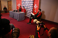 Robert Howley , the coach of Wales © and Alun Wyn Jones (l) , the Wales captain speak to the press during theWales Rugby team announcement press conference at the Vale Resort, Hensol near Cardiff, South Wales on Wednesday 8th March 2017. The team are preparing for the the RBS Six nations match against Ireland.  pic by  Andrew Orchard, Andrew Orchard sports photography.