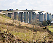 The Orwell Bridge opened in 1982 carries the A14 trunk road over the River Orwell, Ipswich, Suffolk, England.